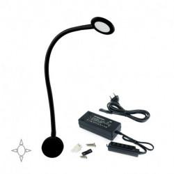 Applique rotonda Kuma con braccio flessibile, 2 porte USB e convertitore di tensione costante