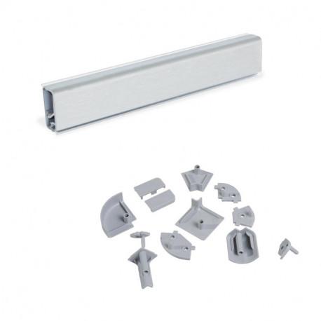 Alzatina rettangolare per cucina Miniline con accessori per installazione.
