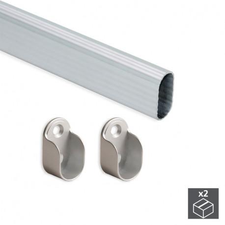 Kit tubo ovale per armadio 30x15 mm Alluminio