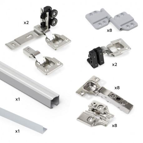 Sistema Twofold in formato kit per 2 ante scorrevoli in legno pensili e pieghevoli con chiusura ammortizzata.