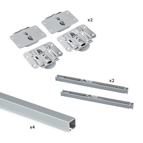 Sistema Flow in formato kit per armadio a 2 ante scorrevoli in legno supportate con chiusura ammortizzata