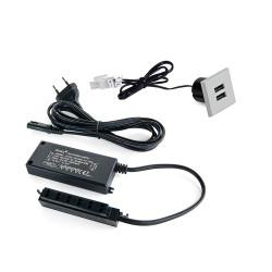 Emuca Connettore quadrato Plugy con 2 porte USB ad incastro nel mobile