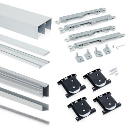 Emuca Schiebetürensystem für Schrank mit 2 Türen Laufrollen untere Schiene Placard mit Profilen Wave16 und sanftem Schließen