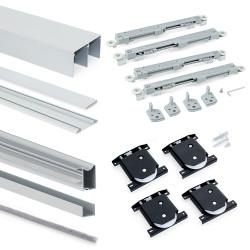 Emuca Système coulissant pour armoires à 2 portes avec roulement inférieur avec profils Wave16 et fermeture amortie