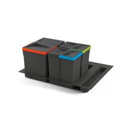 Emuca Juego de contenedores con base Recycle para cajón cocina