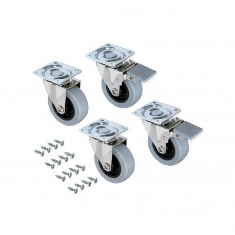 Emuca Roulettes Slip avec plétine de montage