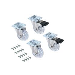 Emuca Roulettes Slip transparentes avec plétine de montage