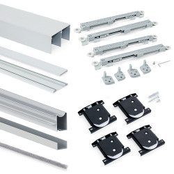 Emuca Schiebetürensystem für Schrank mit zwei Türen Laufrollen untere Schiene Placard mit Profilen Wave16 und sanftem Schließen