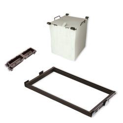 Emuca Kit aus Führungen, Wäschekorb und Hilfsablagen Moka für Modul 600 mm