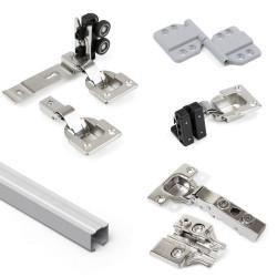 Twofold System im Kit-Format für 2 hängende Faltschiebetüren aus Holz mit Soft-Close-Funktion.