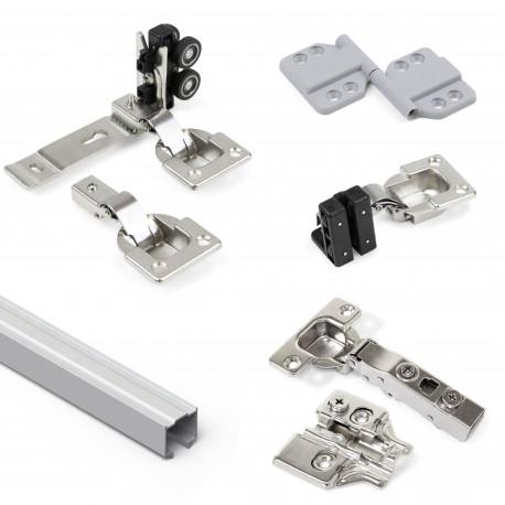 Système Twofold en format kit pour 2 portes coulissantes en bois suspendues et pliantes à fermeture amortie