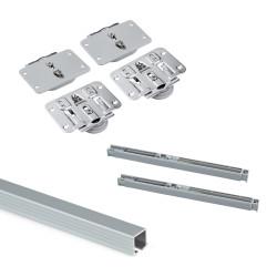 Sistema Flow Emuca in formato kit per armadio a 2 ante scorrevoli in legno supportate con chiusura ammortizzata