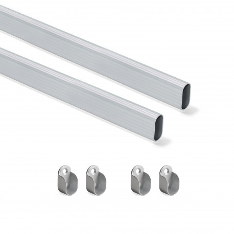 Kit tube de penderie 30x15 mm aluminium