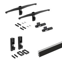 Kit Zero di supporti per mensole in legno e barra appendiabiti