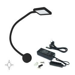 Aplique cuadrado Kuma con brazo flexible y 2 puertos USB, y convertidor de tensión constante
