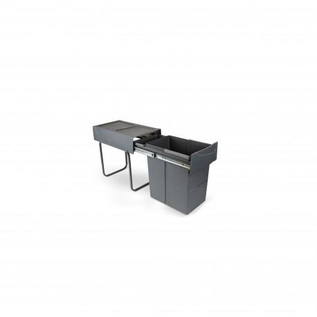 Pattumiera per raccolta differenziata da 20L Recycle per cucina, fissaggio inferiore, estrazione manuale.