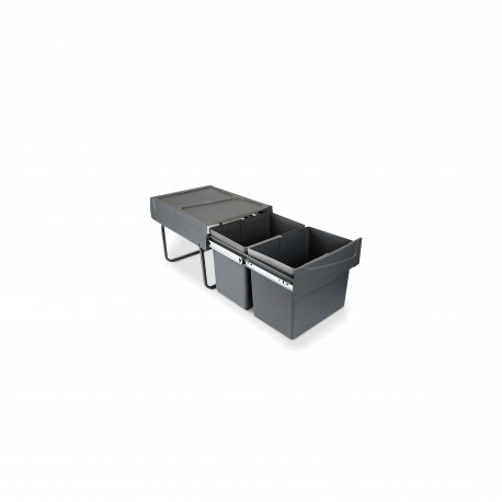 Contenedores de reciclaje para cocina, 2 x 15 L, fijación inferior y extracción manual.