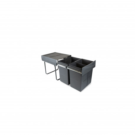 Contenedores de reciclaje Recycle para cocina, 2 x 20 L, fijación inferior y extracción manual.