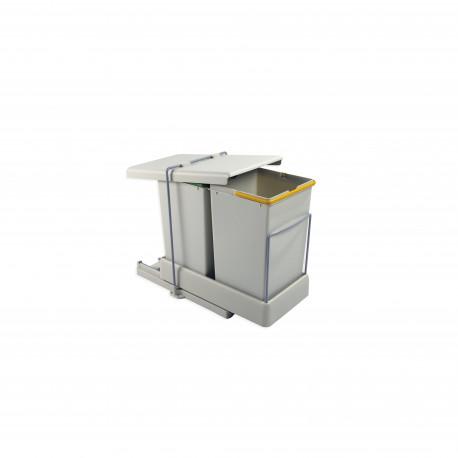 Contenedor de reciclaje de fijación inferior y extracción automática con 2 vasos de 14 litros