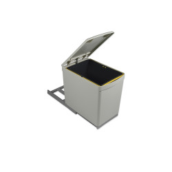 Recycle-Mülleimer mit unterseitiger Befestigung und manuellem Auszug mit 1 Eimer an 16 Litern und automatischem Deckel