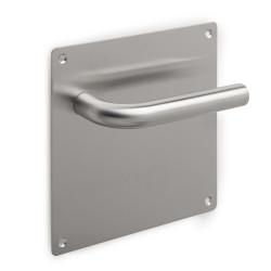Coppia di maniglie con piastra 17x17 cm per porte interne.