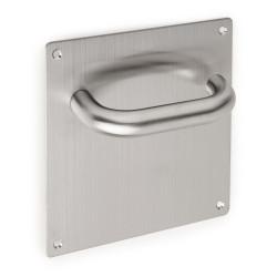 Manillas fijas en forma de U con placa 17x17cm para puertas de madera.
